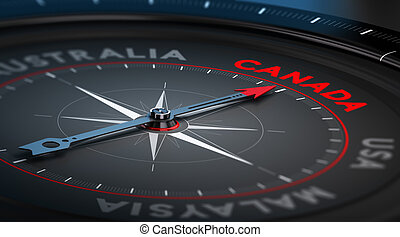 Canada - Black compass with needle pointing the country...