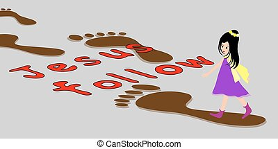 Girl and footprints-following Jesus - Follow in the...