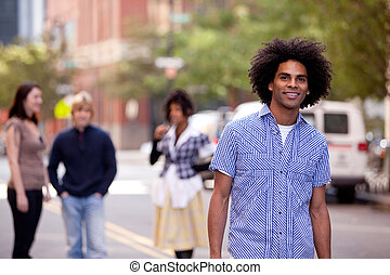 Attractive African American male in a City Street - Four...