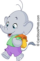 School elephant - Cute school elephant walking with a...