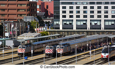 Aerial view of San Francisco Caltrain depot rail station...