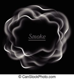 Realistic vector illustration of smoke on black background