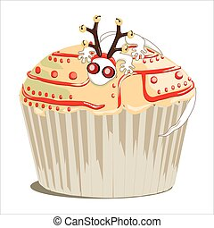 Christmas cupcake decorated with gecko wearing a pair of...