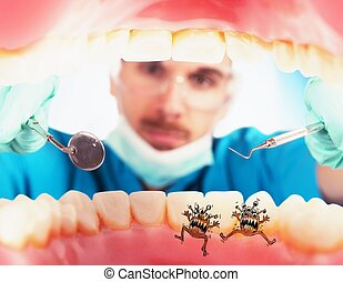 Patient with caries germs - Dentist in a oral visit sees...