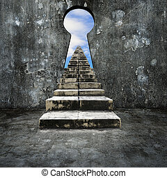 Keyhole concrete wall with dirty stairs sky view - Keyhole...