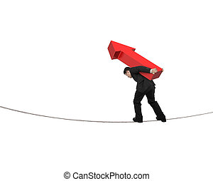 Businessman carrying red arrow sign balancing on tightrope,...