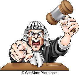 Angry Judge - An illustration of an angry judge cartoon...