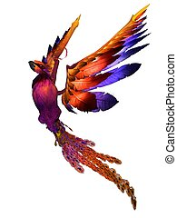 Phoenix - 3D rendered fantasy phoenix bird on white...