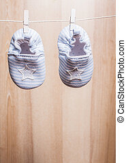 Baby boy socks - Baby booties attached to the rope -...