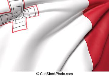 Malt flag - 3d rendering of a Malt flag