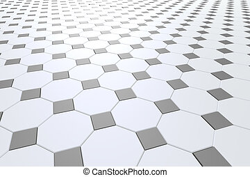 Octagons - 3d rendering of a white octagons floor
