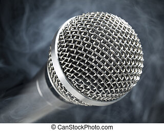 Microphone on stage - A dynamic microphone on stage.