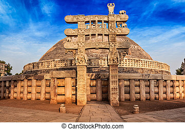Great Stupa Sanchi, Madhya Pradesh, India - Great Stupa -...