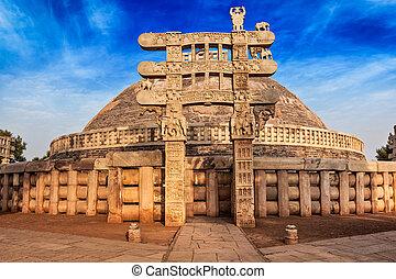 Great Stupa. Sanchi, Madhya Pradesh, India - Great Stupa -...