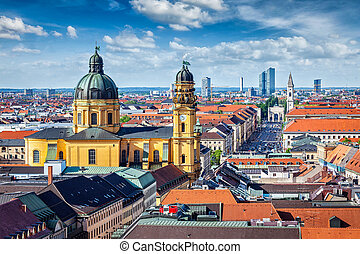 Aerial view of Munich over Theatine Church of St Cajetan...