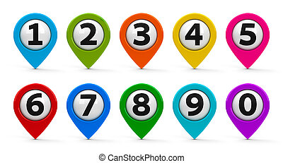 Map pointers with numbers set - Color map pointers with...