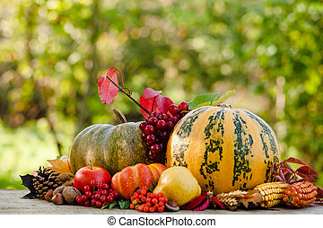 Happy Thanksgiving still life. Fruits, nuts and vegetables,...