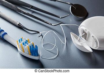 Different tools for dental care - Set of different tools for...