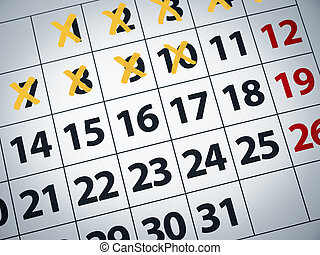 Countdownt to D day - Close up of a calendar with some days...