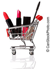 Shopping trolley with make-up products inside