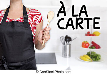 a la carte cook wooden spoon holds background