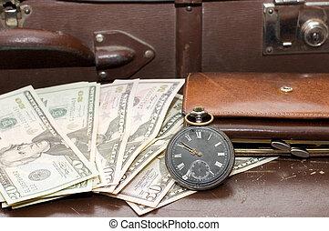 dinero, viejo, Pone, maleta