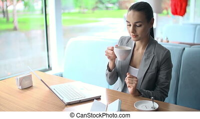 Business Lady - Side view of business woman computing in...