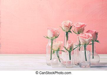 Roses in bottles - Pink roses in vintage bottles, home decor