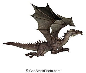 Dragon - 3D rendered flying dragon isolated on white...