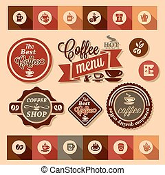 coffee design stickers - Color stickers of coffee design,...