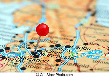 Manchester pinned on a europe map - Photo of pinned...