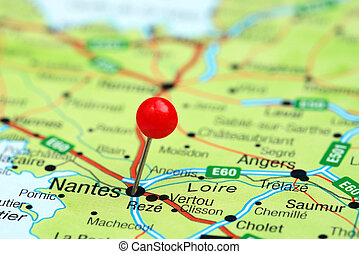 Nantes pinned on a map of europe - Photo of pinned Nantes on...