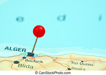 Algiers pinned on a map of europe - Photo of pinned Algiers...