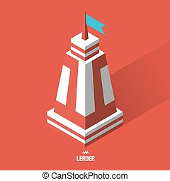 Leader concept Tower 3d vector illustration Can be used as...