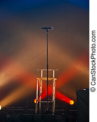 Mic in Lights - A microphone on stage in lights