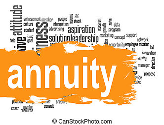 Annuity word cloud with orange banner image with hi-res...