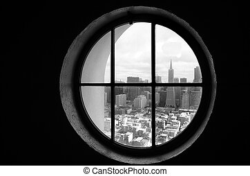 San Francisco downtown skyline as seen from a round window -...