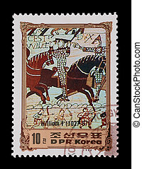 battle of hastings - DPR KOREA: mail stamp featuring the...