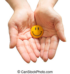Smiley Face Button. - Winking, Colour, White, Cheerful,...