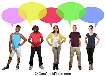 Smiling multi ethnic group of people talking with speech...