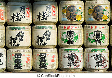 Rice wine barrels - Japanese sake rice wine barrels with...