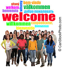 Multi ethnic group of smiling young people saying welcome in...