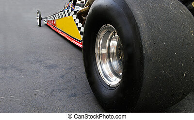 Dragster race car shot from back left tire