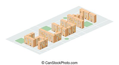 Slum district. Isometric city buildings. Yard among houses....