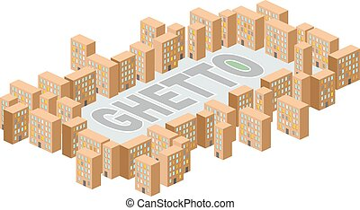 Ghetto district. Building in form of letters. Vector...
