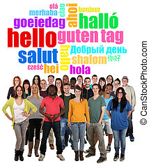 Large multi ethnic group of smiling young people saying...