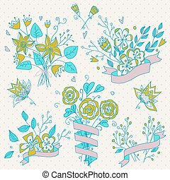 Hand drawn flower bouquet set. Retro flowers.