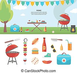 Banner and Icons of Picnic Items. Holiday Concept