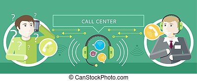 Concept of Call Centre Operator and Clients - Professions...