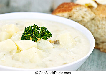 Potato Soup - A bowl of freshly made creamy potato soup...